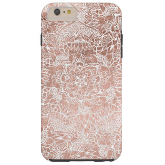 Modern faux rose gold floral mandala hand drawn tough iPhone 6 plus case