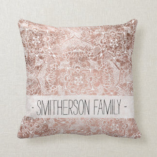 Modern faux rose gold floral mandala illustration cushion