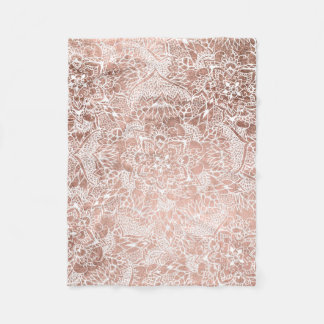Modern faux rose gold floral mandala illustration fleece blanket