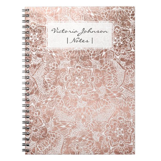 Modern faux rose gold floral mandala illustration notebook