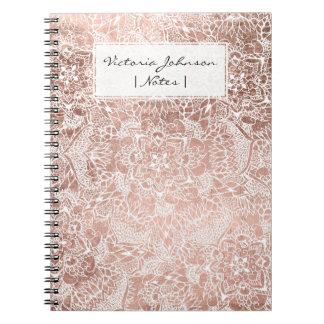Modern faux rose gold floral mandala illustration notebooks