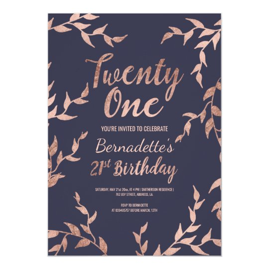 Modern faux rose gold floral navy 21st Birthday