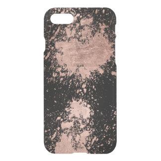 Modern faux rose gold foil brushstrokes black iPhone 7 case