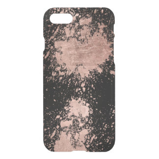 Modern faux rose gold foil brushstrokes black iPhone 8/7 case