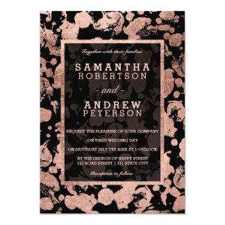 Modern faux rose gold foil brushstrokes wedding card