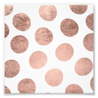 Modern faux rose gold foil hand drawn polka dots art photo