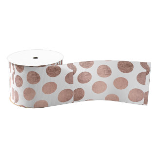 Modern faux rose gold foil hand drawn polka dots grosgrain ribbon