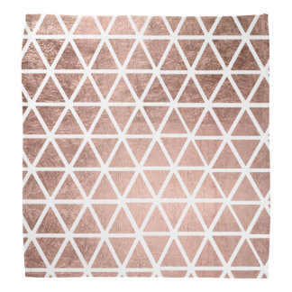 Modern faux rose gold foil triangles pattern bandana