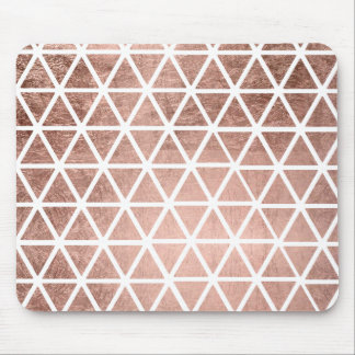Modern faux rose gold foil triangles pattern mouse mat