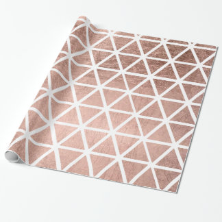 Modern faux rose gold foil triangles pattern wrapping paper