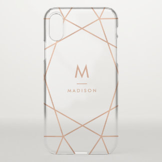 Modern Faux Rose Gold Geometric | Monogram iPhone X Case