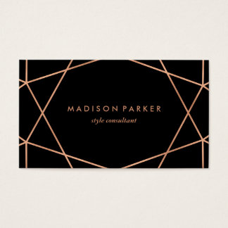 Modern Faux Rose Gold Geometric on Black Business Card