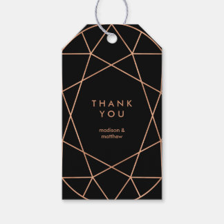 Modern Faux Rose Gold Geometric on Black Gift Tags