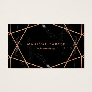 Modern Faux Rose Gold Geometric on Black Marble