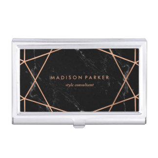Modern Faux Rose Gold Geometric on Black Marble Business Card Holder