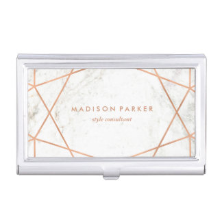 Modern Faux Rose Gold Geometric on White Marble Business Card Holder