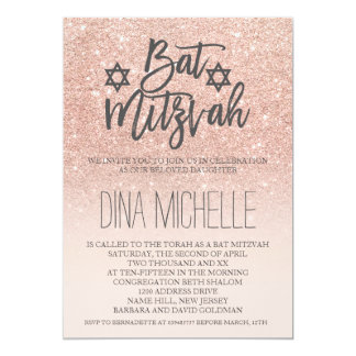 Modern faux rose gold glitter Bat Mitzvah Card