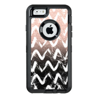 Modern faux rose gold glitter black marble chevron OtterBox defender iPhone case