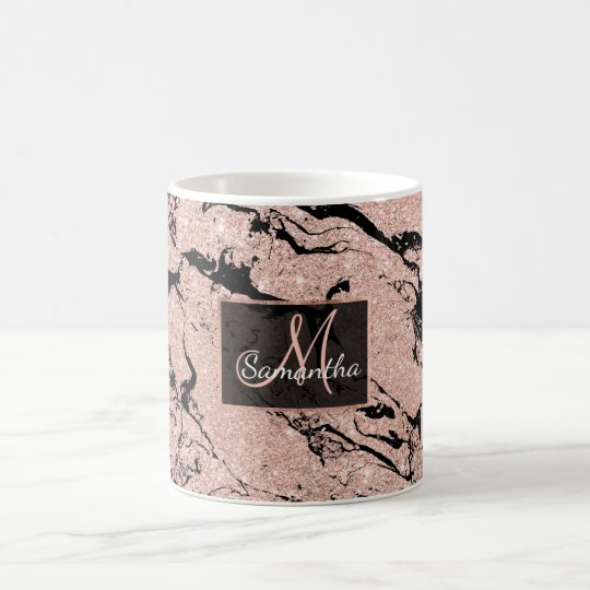Modern faux rose gold glitter black marble coffee