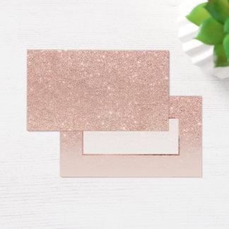 Modern faux rose gold glitter blush ombre business card