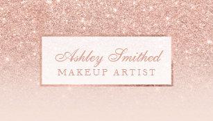 Makeup artist business cards zazzle uk modern faux rose gold glitter blush ombre makeup business card reheart Gallery