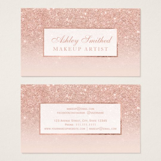 Makeup elegant typography blush rose gold glitter business card modern faux rose gold glitter blush ombre makeup colourmoves