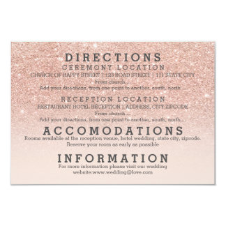 Modern faux rose gold glitter details wedding 9 cm x 13 cm invitation card