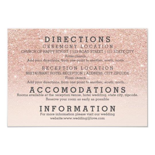Modern faux rose gold glitter details wedding card