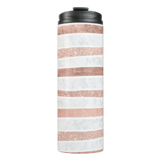 Modern faux rose gold glitter foil marble stripes thermal tumbler