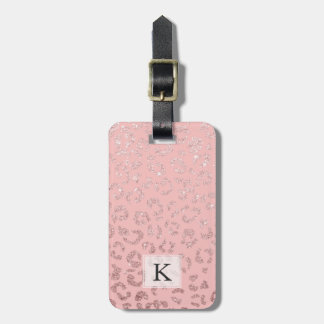Modern faux rose gold glitter leopard ombre pink luggage tag