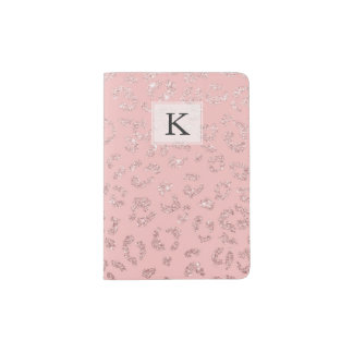 Modern faux rose gold glitter leopard ombre pink passport holder