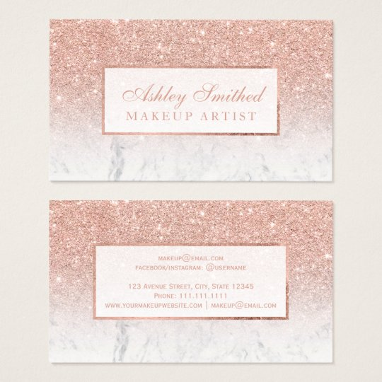 Modern faux rose gold glitter marble ombre makeup business card modern faux rose gold glitter marble ombre makeup business card reheart Gallery