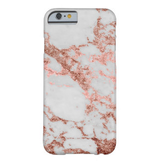 Modern faux rose gold glitter marble texture image barely there iPhone 6 case