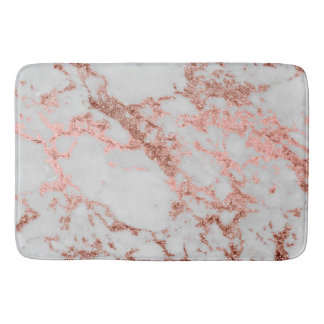 Modern faux rose gold glitter marble texture image bath mats
