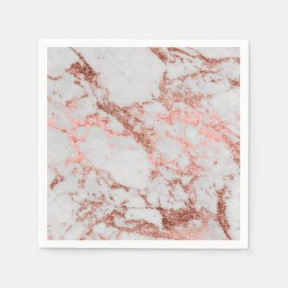 Modern faux rose gold glitter marble texture image disposable napkin