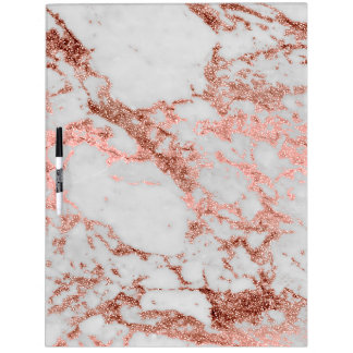 Modern faux rose gold glitter marble texture image dry erase board