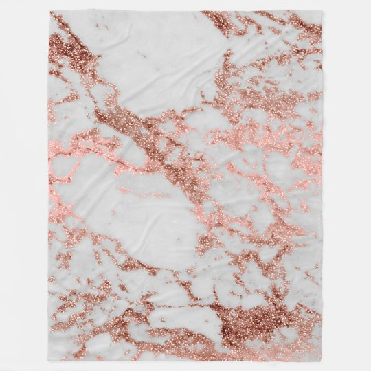 Modern Faux Rose Gold Glitter Marble Texture Image Fleece