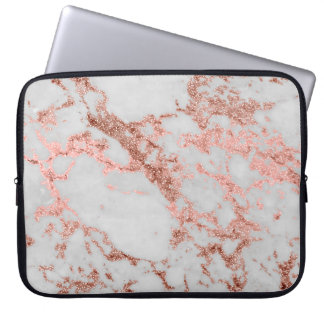 Modern faux rose gold glitter marble texture image laptop sleeve