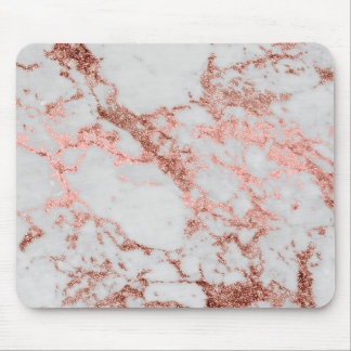 Modern faux rose gold glitter marble texture image mouse mat