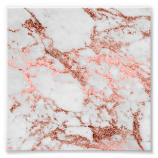 Modern faux rose gold glitter marble texture image photo print