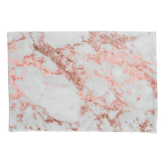 Modern faux rose gold glitter marble texture image pillowcase