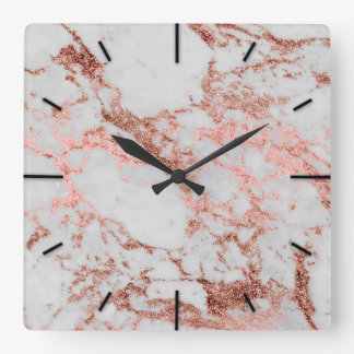 Modern faux rose gold glitter marble texture image square wall clock