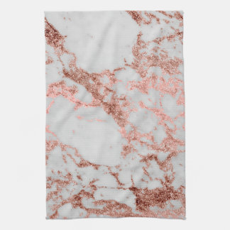 Modern faux rose gold glitter marble texture image tea towel