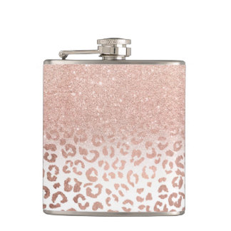 Modern faux rose gold glitter ombre leopard hip flask