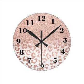 Modern faux rose gold glitter ombre leopard round clock