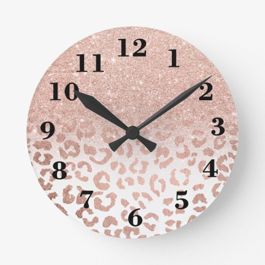 Modern faux rose gold glitter ombre leopard round