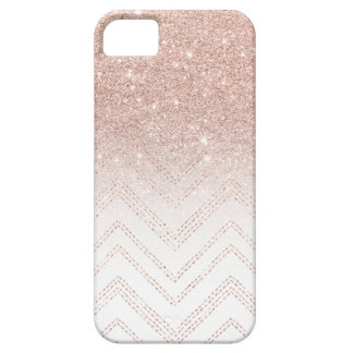 Modern faux rose gold glitter ombre modern chevron iPhone 5 cases