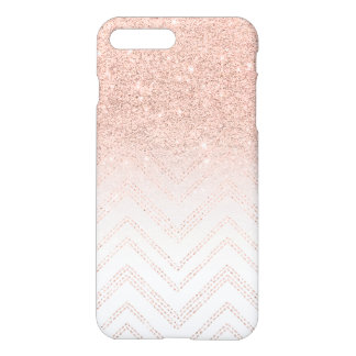 Modern faux rose gold glitter ombre modern chevron iPhone 8 plus/7 plus case