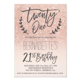 Modern faux rose gold glitter script 21st Birthday 13 Cm X 18 Cm Invitation Card