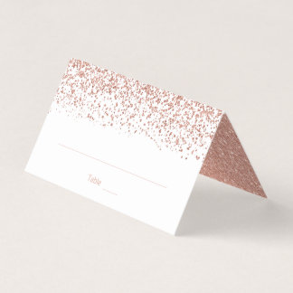 Modern Faux Rose Gold Glitter Wedding Folded Place Card